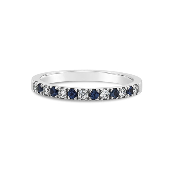 18ct White gold Sapphire and Diamond Band