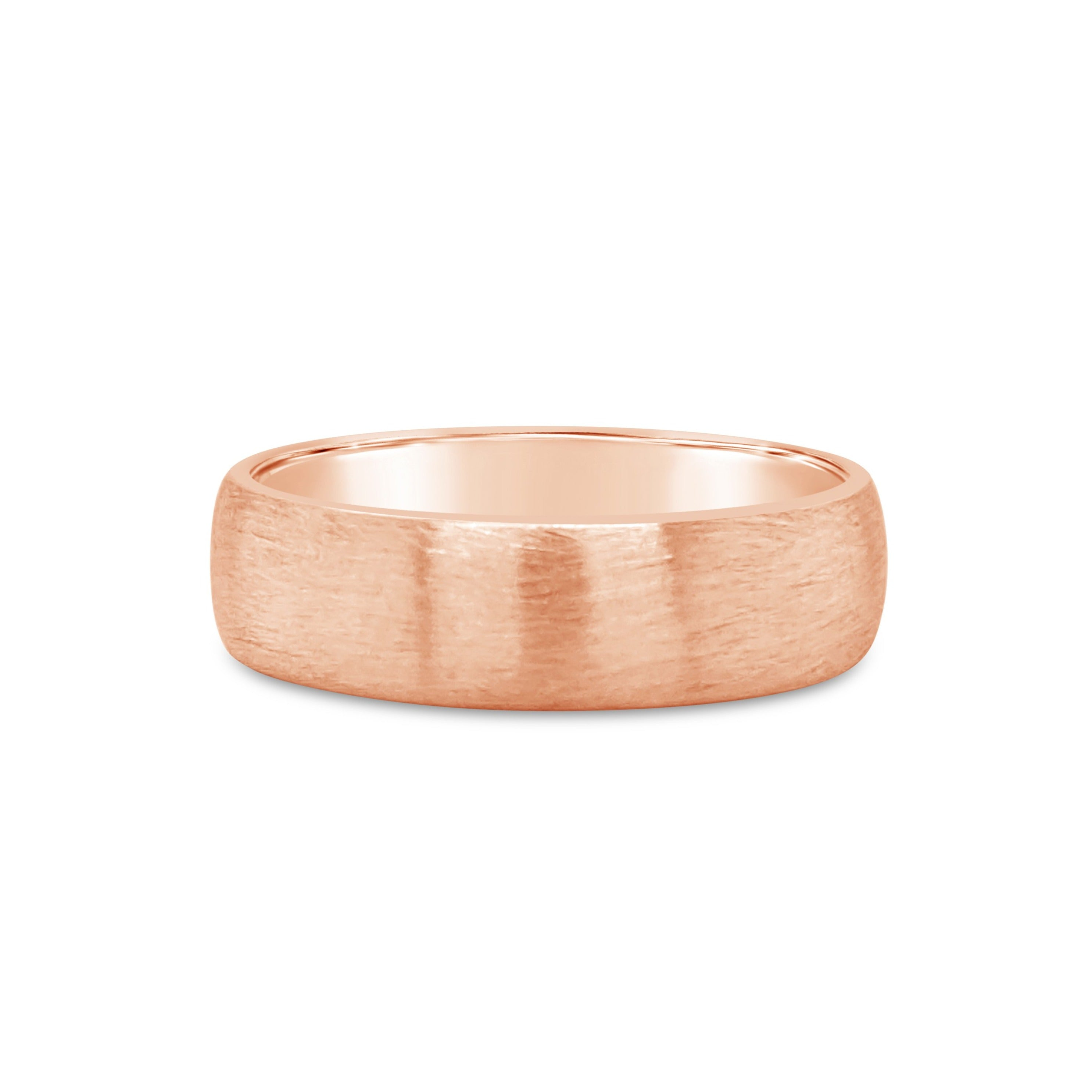 18ct Rose gold mens band 6mm wide with brushed finish