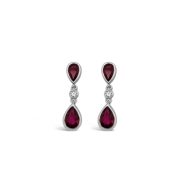 Pear shape ruby and diamond drop earrings
