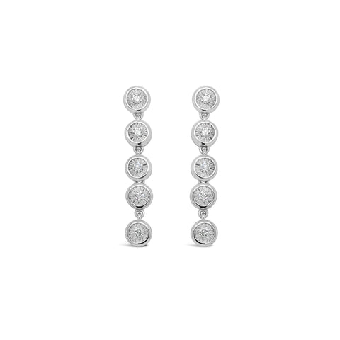 18ct White gold illusion set diamond drop earrings
