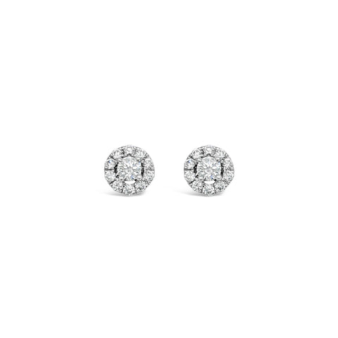 White diamond halo earrings