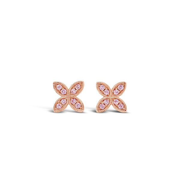 Millgrain Flower Pink Diamond Earrings
