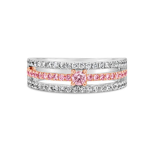 3 Row Pink and white diamond band