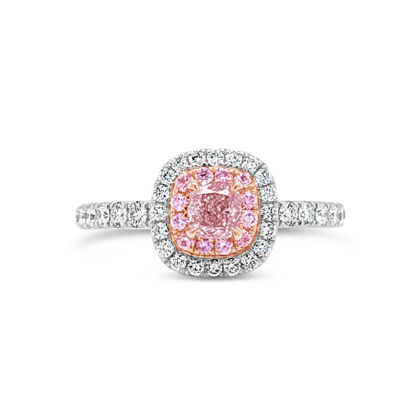 0.32ct Fancy Orange Pink Diamond Ring