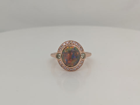 Opal and Green Diamond Ring