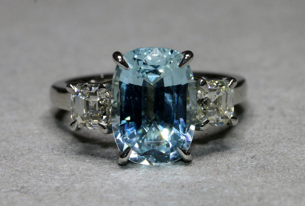 Aquamarine and Diamond Trilogy Ring