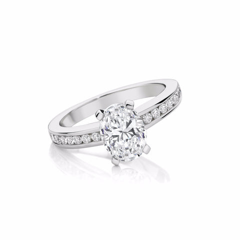 Four Claw Oval Engagement Ring with Channel set Diamonds