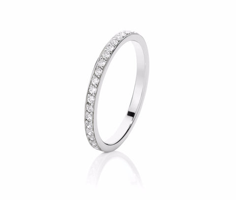 Single Row Pave Diamond Ring