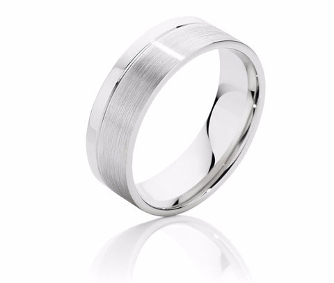 Offset Scored Men's Wedding Ring with Brushed and Polished Finish