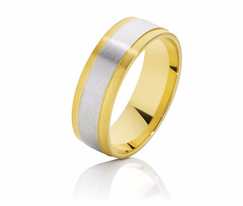 Two Tone Flat Men's Wedding Ring