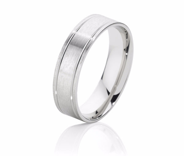 Double Scored Line Men's Wedding Ring with Brushed Finish