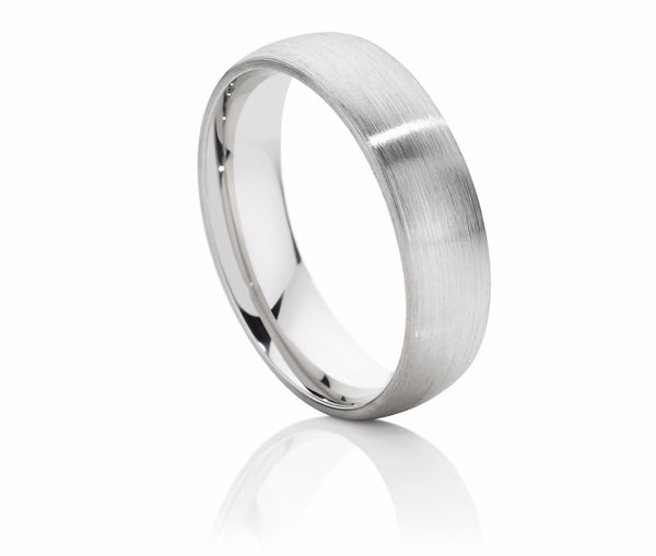Brushed Finish Half Round Wedding Ring