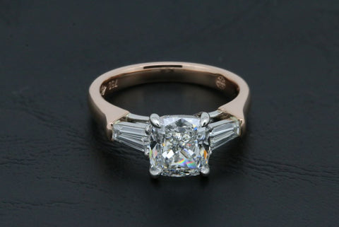 Cushion Cut and Baguette Diamond Ring in Rose Gold and Platinum