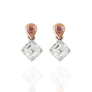 Asscher cut and pear shape Pink Argyle diamond earrings