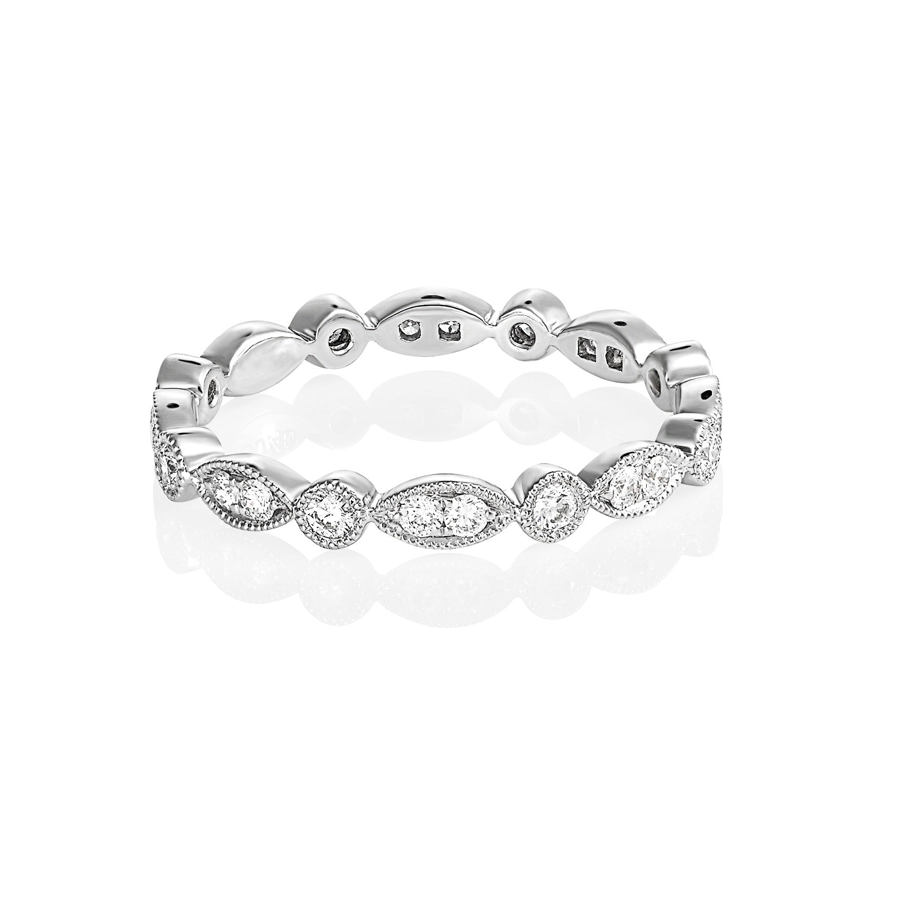 White gold round and marquise eternity ring