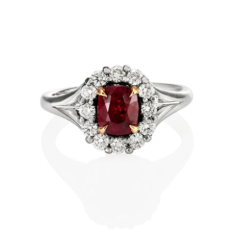 1.50ct Cushion cut Ruby Ring