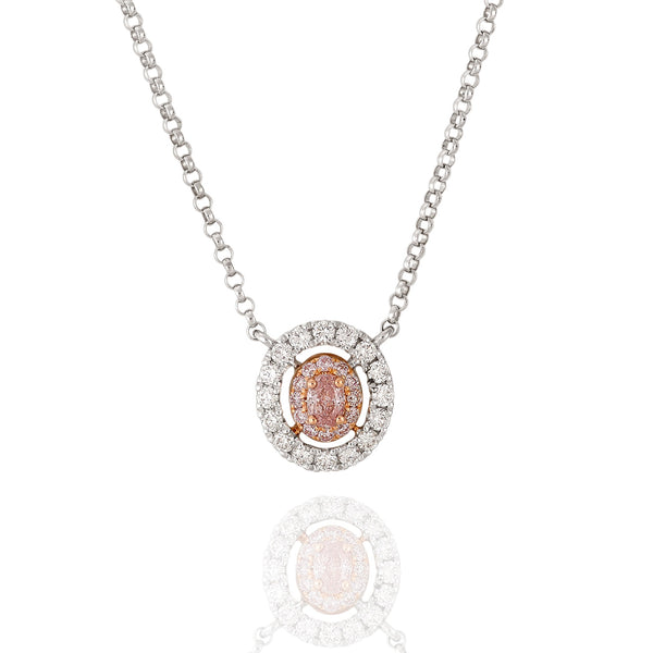 18ct rose and white gold pendant featuring Argyle Pink diamonds Oval 5P
