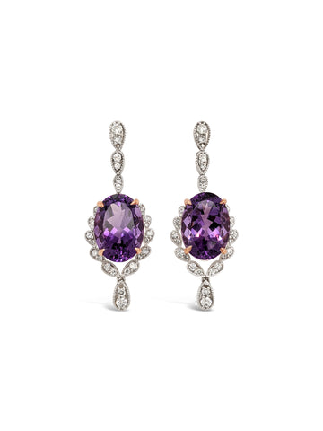 Amethyst and Diamond dress earrings