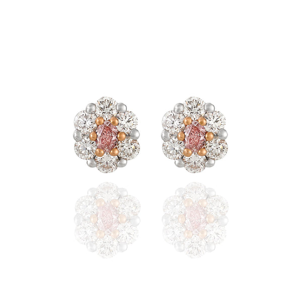 Argyle pink and White diamond halo Earrings