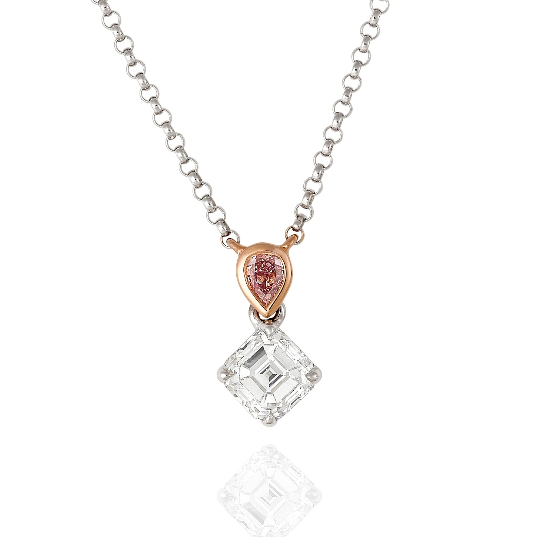 Asscher and Pear Shape Pink Argyle Diamond pendant 4P