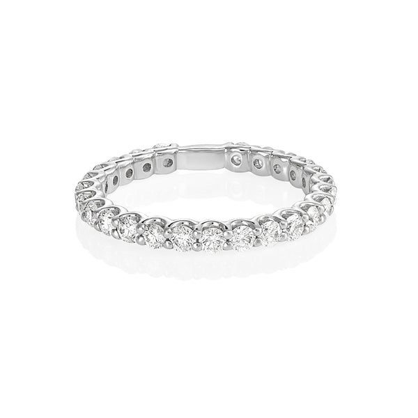 18ct white gold diamond shared claw eternity band