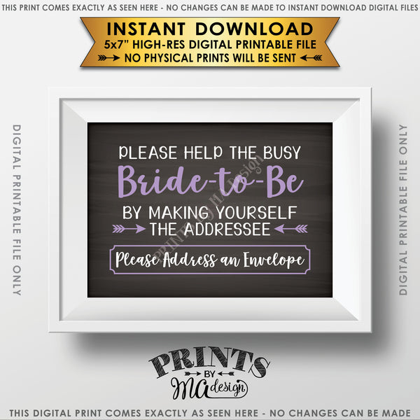 "Address Envelope Bridal Shower Sign, Help the Bride by Addressing an Envelope, Be the Addressee, White & Light Purple Text, Chalkboard Style Instant Download 5x7"" Printable Sign - PRINTSbyMAdesign"