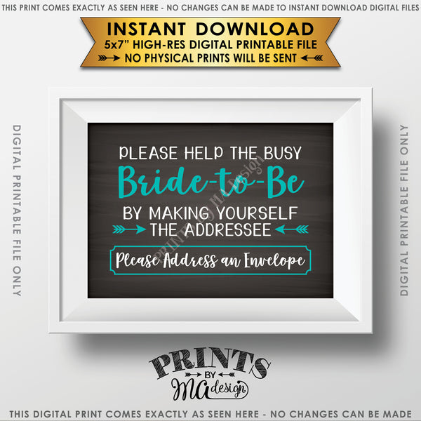 "Address Envelope Bridal Shower Sign, Help the Bride by Addressing an Envelope, Be the Addressee, White & Teal Text, Chalkboard Style Instant Download 5x7"" Printable Sign - PRINTSbyMAdesign"