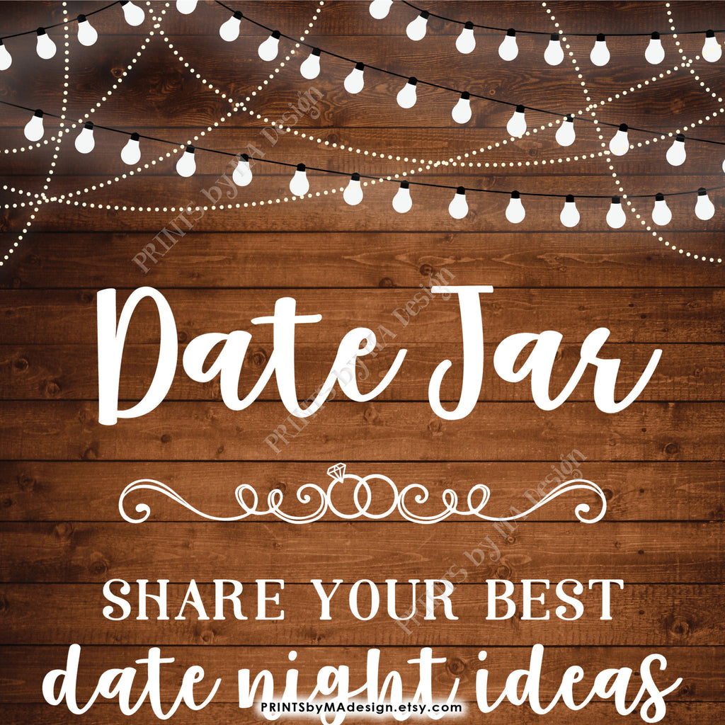 graphic relating to Date Night Jar Printable named Day Jar Indication, Percentage your easiest Day Guidelines with the Newlyweds, Proportion Day Evening Plans, 8x10\u201d Rustic Picket Style and design Printable Quick Down load