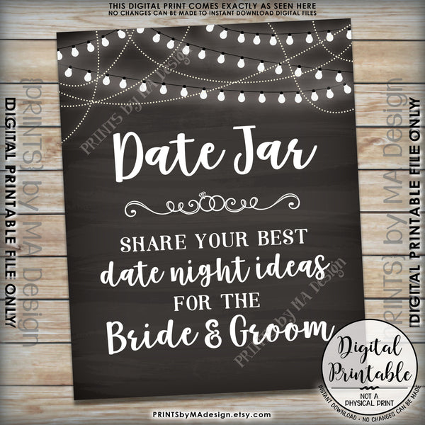 "Date Jar Sign, Share your best Date Ideas with the Bride & Groom, Share Date Night Ideas, 8x10"" Chalkboard Style Printable Instant Download - PRINTSbyMAdesign"