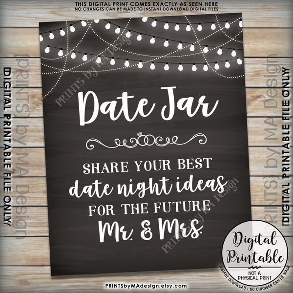 "Date Jar Sign, Share your best Date Ideas with the Future Mr & Mrs, Share Date Night Ideas, 8x10"" Chalkboard Style Printable Instant Download - PRINTSbyMAdesign"
