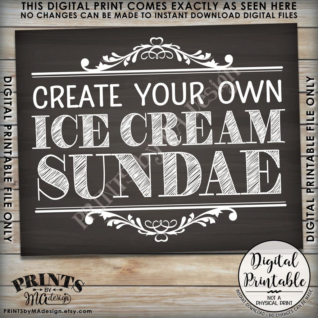 Sundae sign create your own ice cream sundae bar ice for Design your own house sign
