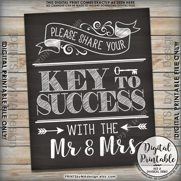"Marriage Advice Sign, Please Share your Key to Success with the Mr & Mrs Wedding Sign Chalkboard Style 8x10/16x20"" Instant Download Printable File - PRINTSbyMAdesign"