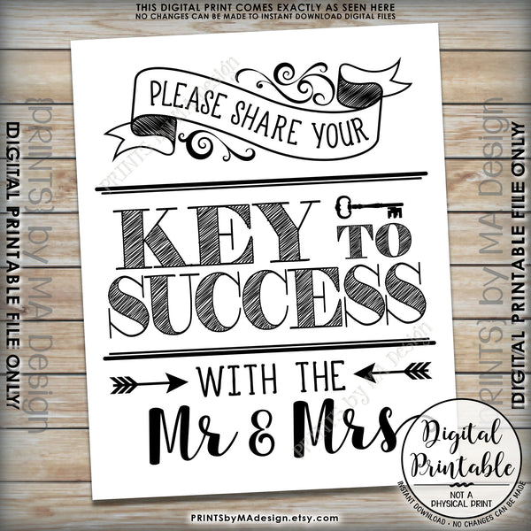 "Marriage Advice Sign, Please Share your Key to Success with the Mr & Mrs Wedding Sign 8x10/16x20"" Instant Download Printable File - PRINTSbyMAdesign"
