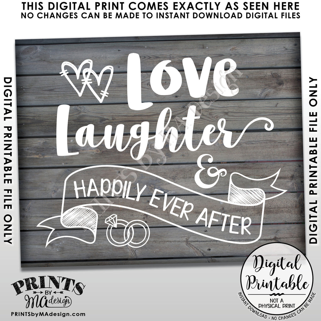 PRINTABLE 8x1016x20\u201d Instant Download Sign Love Laughter Happily Ever After Cheers to the Future Mrs /& Mrs Wedding Rehearsal Dinner Sign