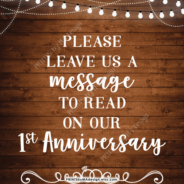 "Please Leave Us a Message to Read on Our First Anniversary Wedding Sign, 1st Anniversary Message, 8x10"" Rustic Wood Style Printable Instant Download - PRINTSbyMAdesign"