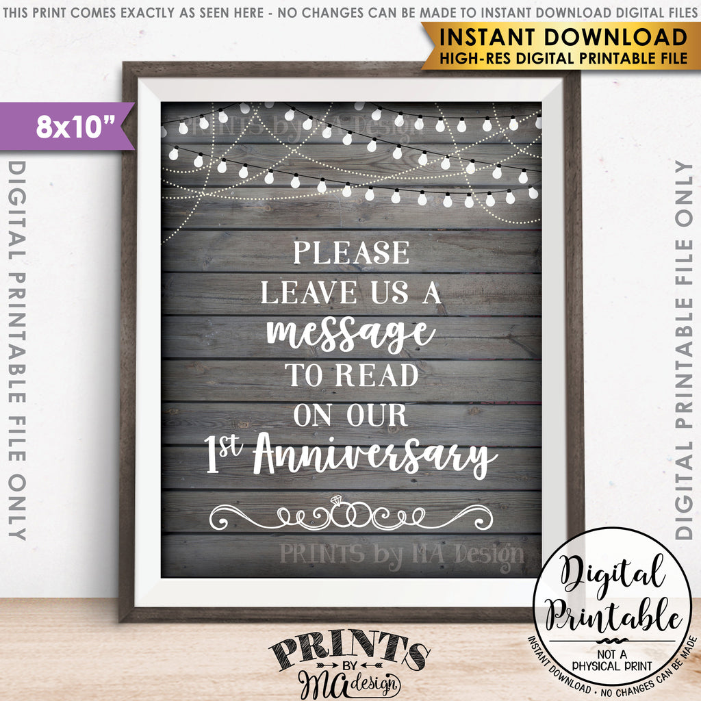 "Please Leave Us a Message to Read on Our First Anniversary Wedding Sign, 1st Anniversary Message, 8x10"" Gray Rustic Wood Style Printable Instant Download - PRINTSbyMAdesign"