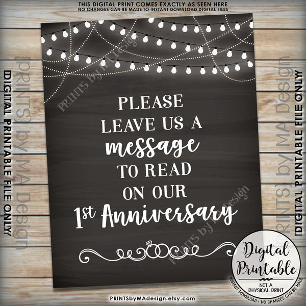 "Please Leave Us a Message to Read on Our First Anniversary Wedding Sign, 1st Anniversary Message, 8x10"" Chalkboard Style Printable Instant Download - PRINTSbyMAdesign"