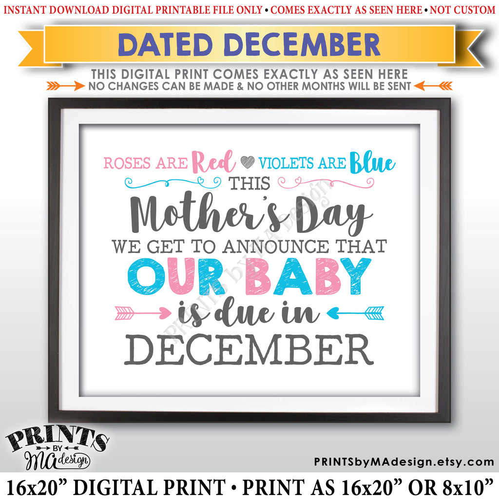 Mother's Day Pregnancy Announcement Sign, Roses are Red Violets Blue Our Baby is Due in DECEMBER Dated PRINTABLE Baby Reveal Sign <Instant Download> - PRINTSbyMAdesign