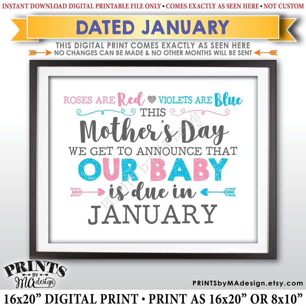 photo relating to Printable Baby Announcement known as Moms Working day Being pregnant Announcement Indication, Roses are Pink Violets Blue Our Little one is Because of within JANUARY Dated PRINTABLE Boy or girl Clarify Signal