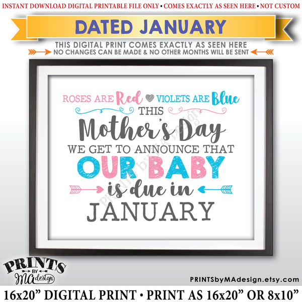 Mother's Day Pregnancy Announcement Sign, Roses are Red Violets Blue Our Baby is Due in JANUARY Dated PRINTABLE Baby Reveal Sign <Instant Download> - PRINTSbyMAdesign