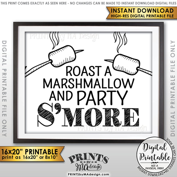 "S'more Sign, Party Smore, Campfire Roast S'mores Wedding, Birthday, Graduation, Sweet 16, Instant Download 8x10/16x20"" Printable Sign - PRINTSbyMAdesign"