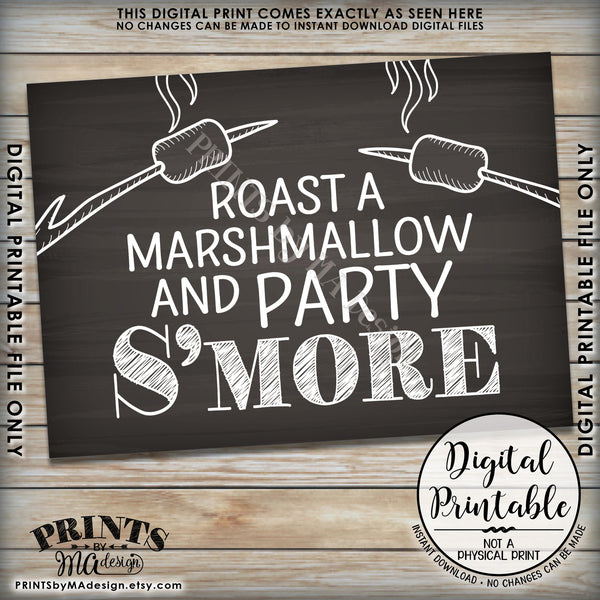 "S'more Sign, Campfire Party Smore, Roast S'mores Wedding, Birthday, Graduation, Sweet 16, Instant Download 5x7"" Chalkboard Style Printable Sign - PRINTSbyMAdesign"