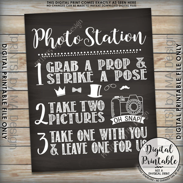 "Photo Station Sign, Take 2 Photos and Leave One For Us Photobooth Wedding Sign, Instant Download 8x10/16x20"" Chalkboard Style Printable File - PRINTSbyMAdesign"