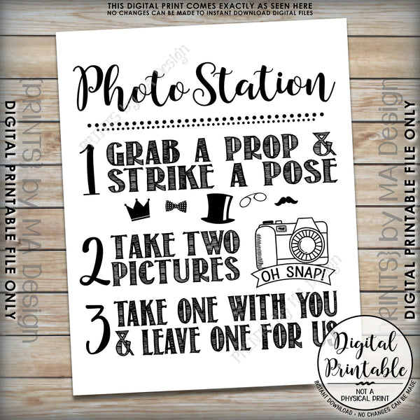 "Photo Station Sign, Take 2 Photos and Leave One For Us Photobooth Wedding Sign, Instant Download 8x10/16x20"" Printable File - PRINTSbyMAdesign"