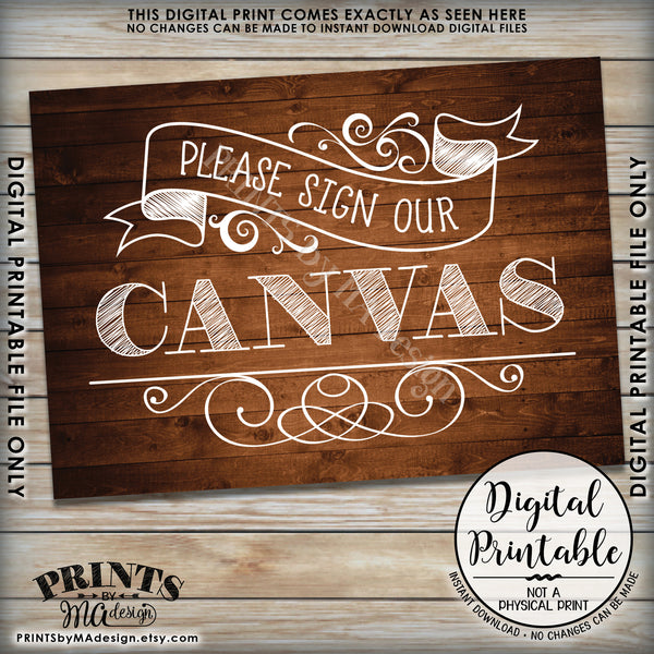 "Please Sign Our Canvas Wedding Sign the Canvas Reception Sign, Instant Download 5x7"" Rustic Wood Style Printable Sign - PRINTSbyMAdesign"