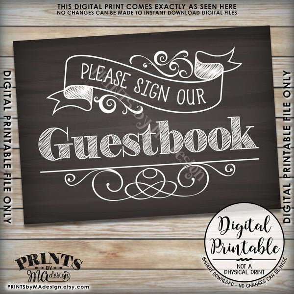 "Please Sign Our Guestbook Wedding Sign, Guest Book Reception Sign, Chalkboard Style Instant Download 5x7"" Printable Sign - PRINTSbyMAdesign"