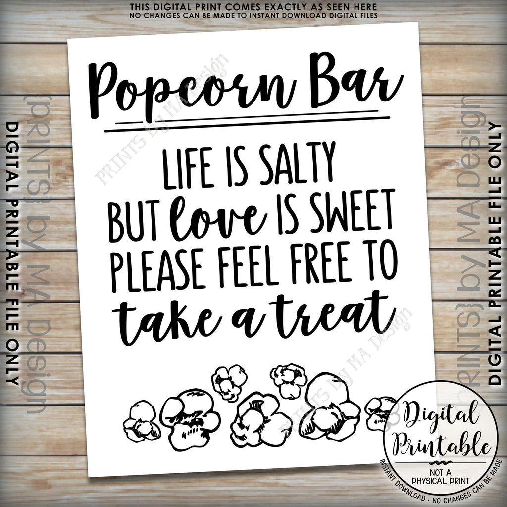 image about Popcorn Sign Printable called Popcorn Bar Indicator, Daily life is Salty however Delight in is Lovable Popcorn Marriage ceremony Signal, Get a Deal with, 8x10/16x20\