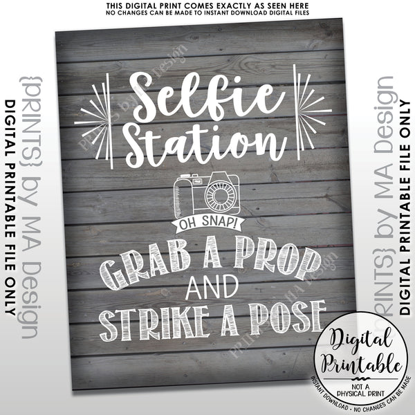 "Selfie Station Sign, Grab a Prop and Strike a Pose Selfie Sign, Photobooth Sign, Instant Download 8x10/16x20"" Rustic Wood Style Printable File - PRINTSbyMAdesign"