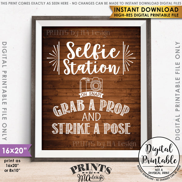 "Selfie Station Sign, Grab a Prop and Strike a Pose Selfie Sign, Photobooth Sign, Instant Download 8x10/16x20"" Brown Rustic Wood Style Printable File - PRINTSbyMAdesign"
