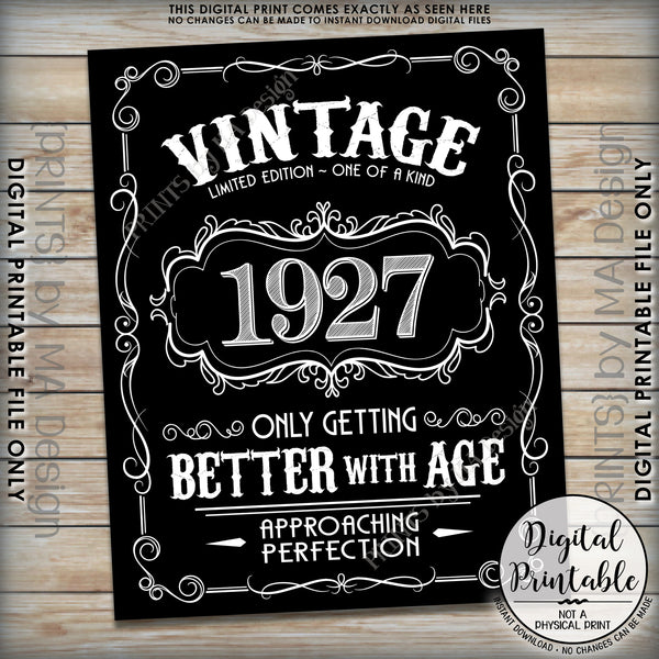 "1927 Birthday Sign, Aged to Perfection Poster, Vintage Birthday, Better with Age, 8x10/16x20"" Black & White Instant Download Digital Printable File - PRINTSbyMAdesign"